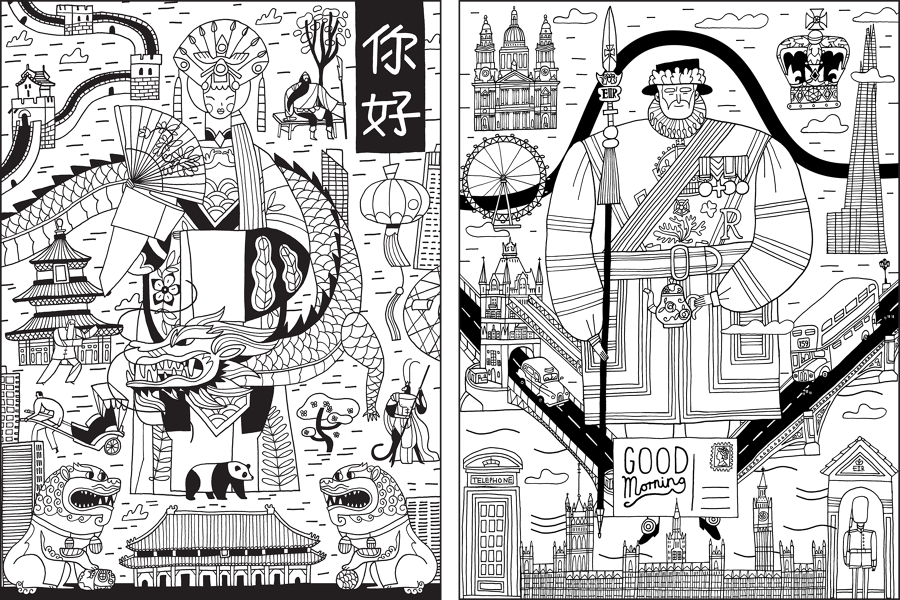 I Was Commissioned By Templar Publishing To Create A Series Of Black White Prints For Colouring Book Based On Cities From Around The Globe